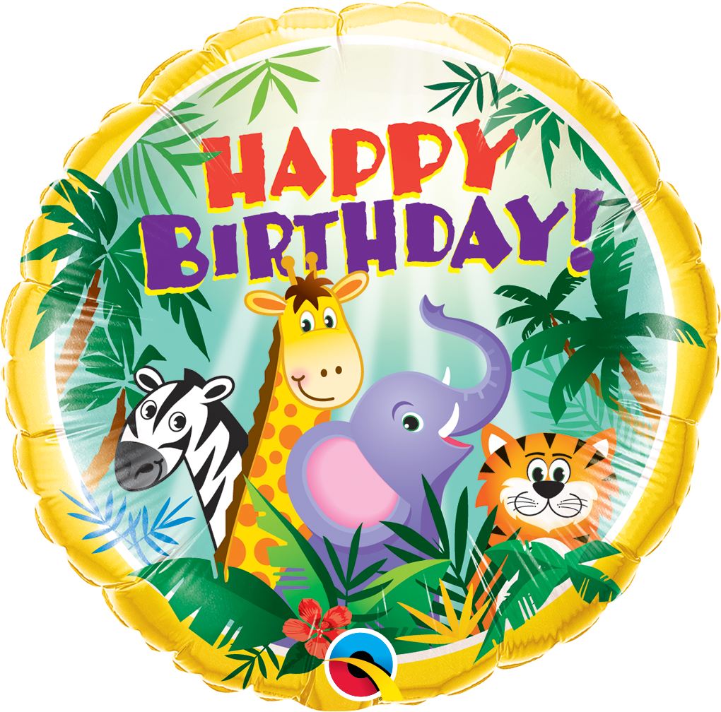 Folienballon Happy Birthday Jungel Freunde