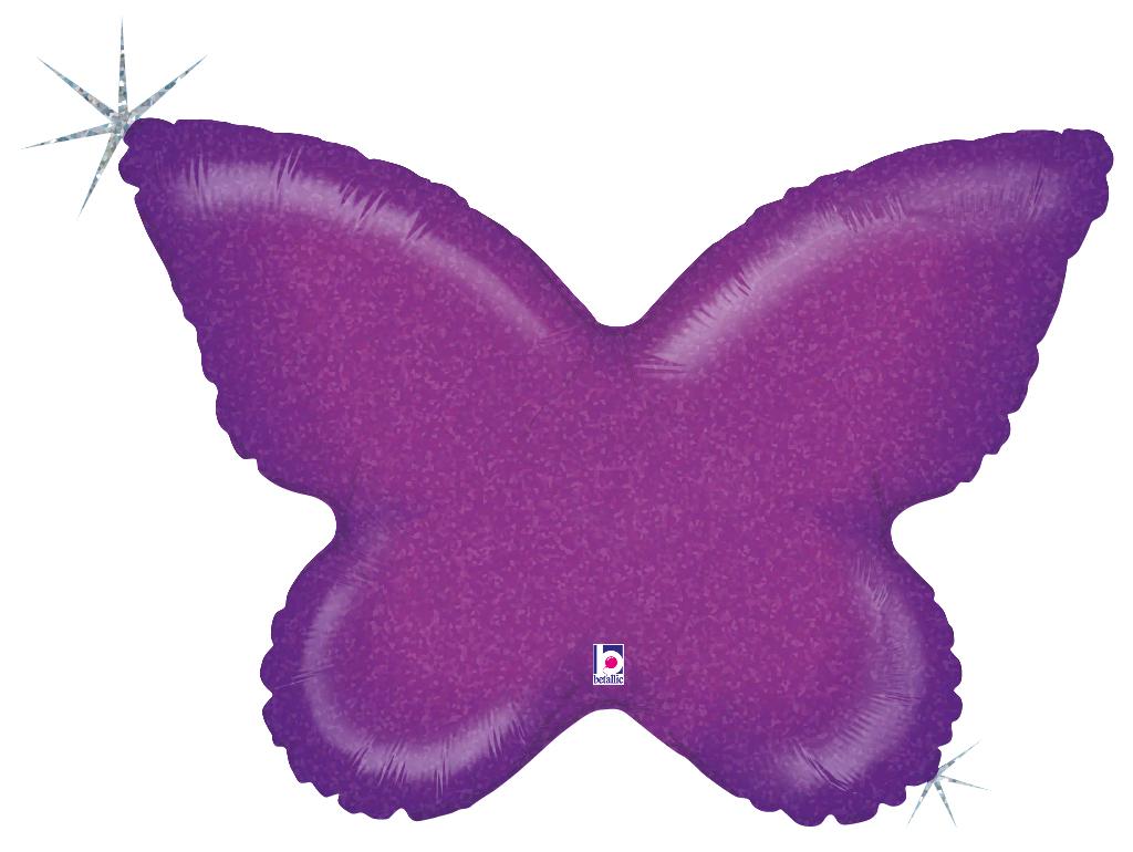 Folienballon Schmetterling violett holografisch