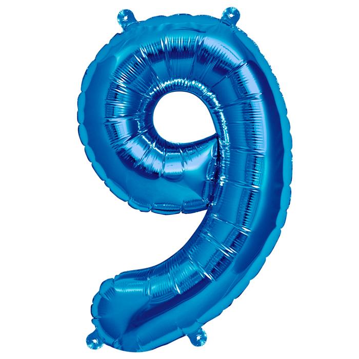 Zahlenballon Blau S - 9