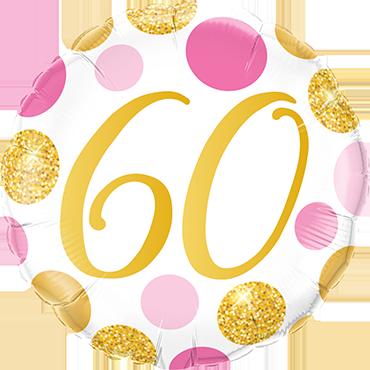 Folienballon Pink und Gold Dots 60