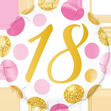 Folienballon Pink und Gold Dots 18