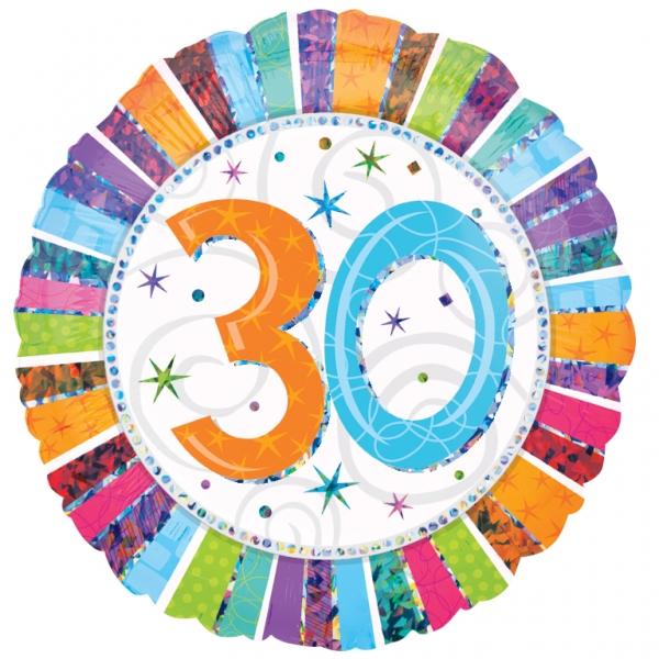 Folienballon Radiant Birthday 30