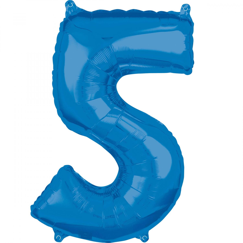 Zahlenballon Blau L - 5