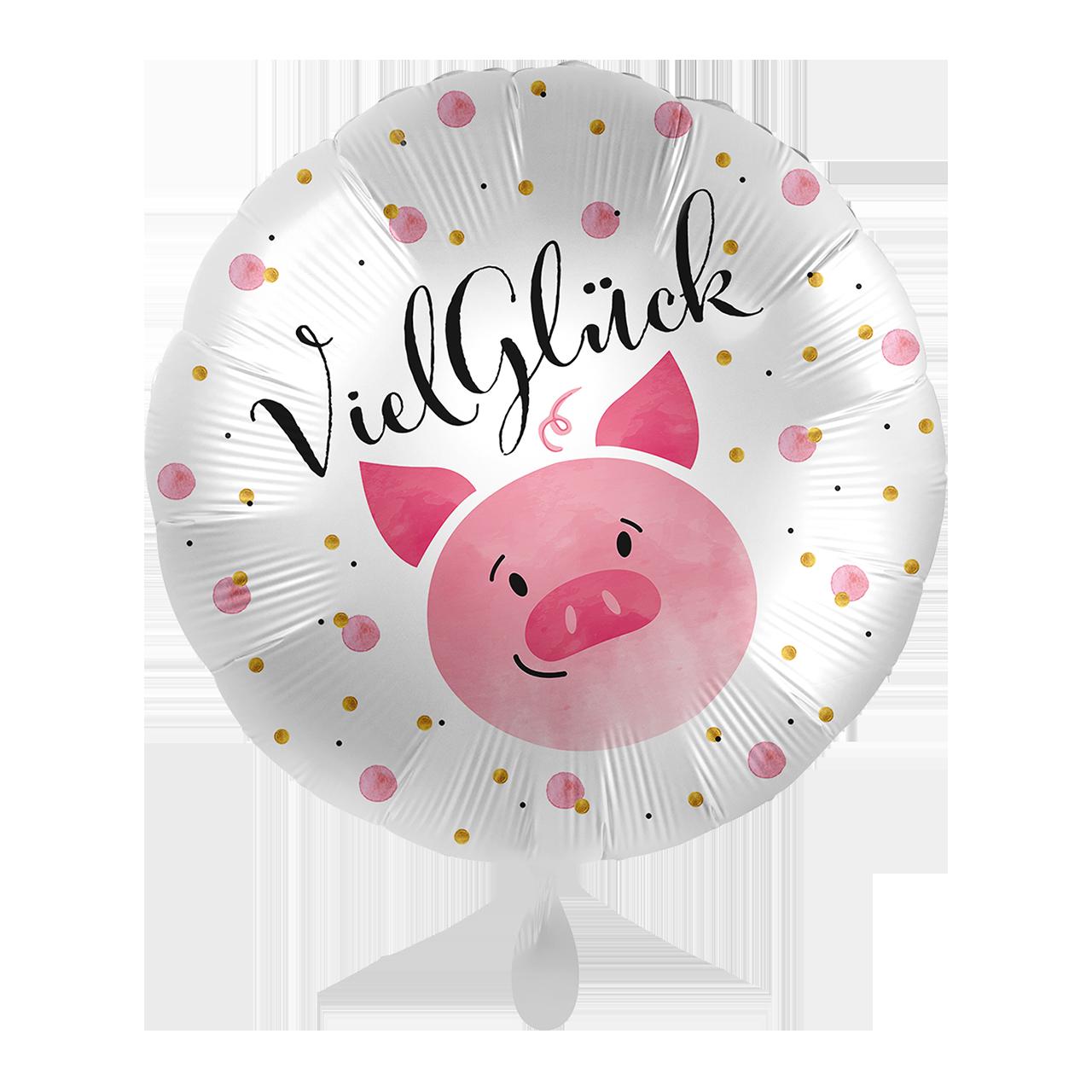Folienballon Viel Glück Schweinchen - 65327