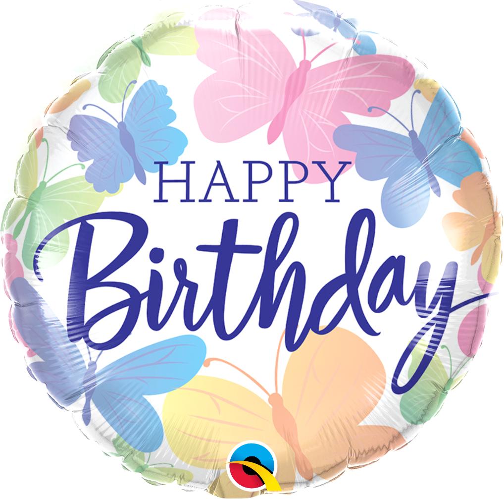 Folienballon Happy Birthday Beautiful Butterlfies