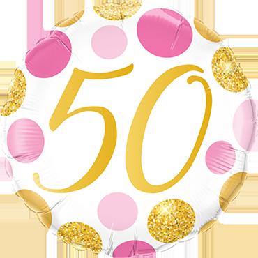 Folienballon 50 Pink und Gold Dots Folienform Rund