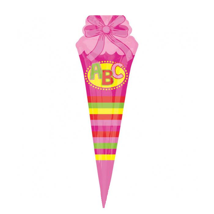 Folienballon Supershape ABC Schultüte pink