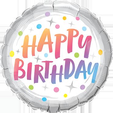 Folienballon Birthday Rainbow Dots
