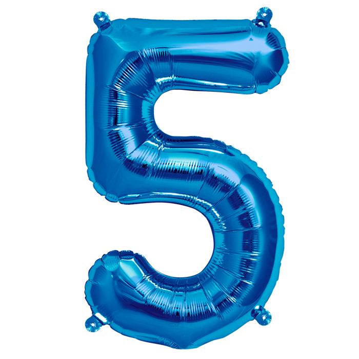 Zahlenballon Blau S - 5