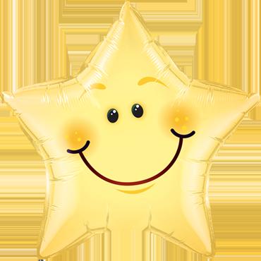 Folienballon Stern Smiley Face