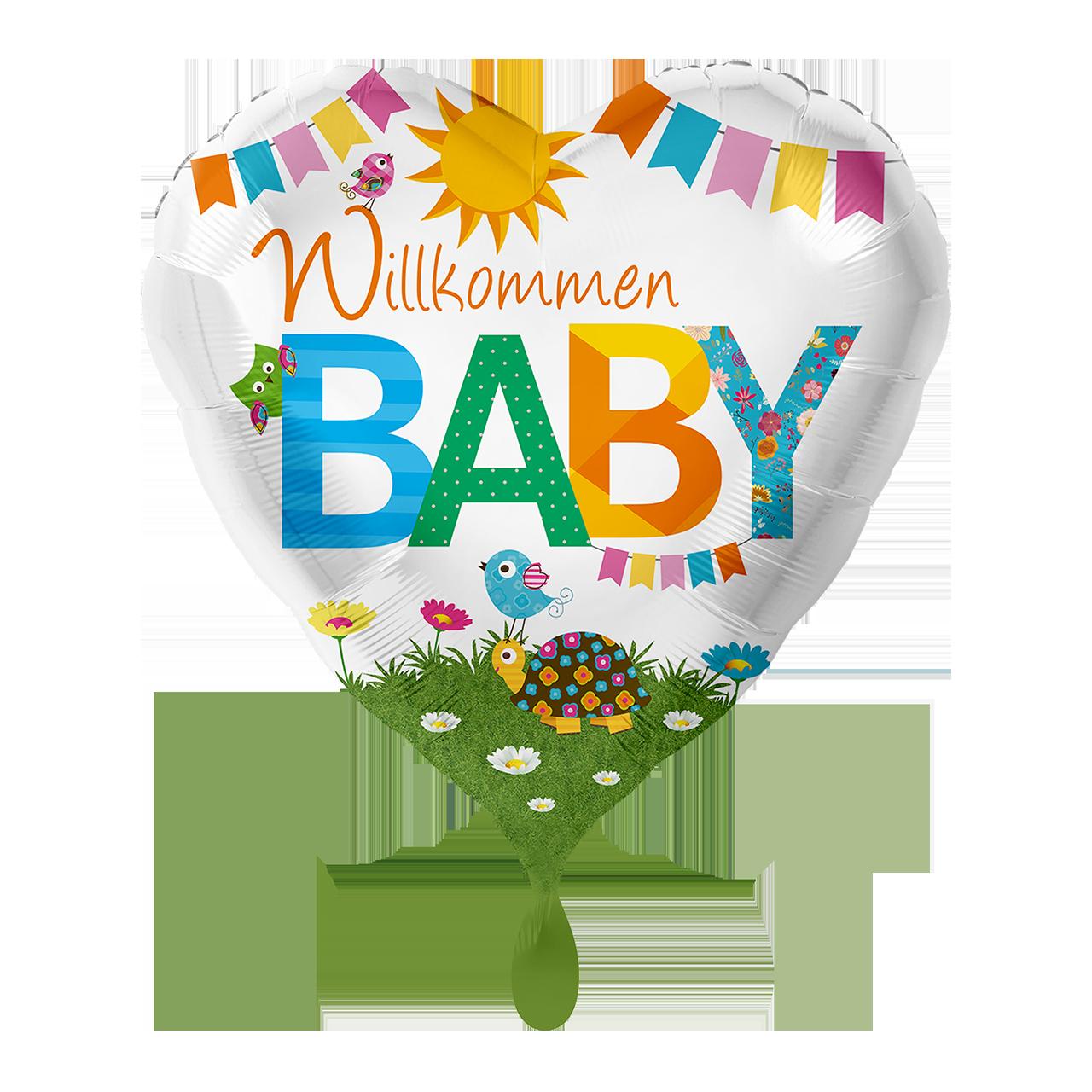 Folienballon Herz Willkommen Baby