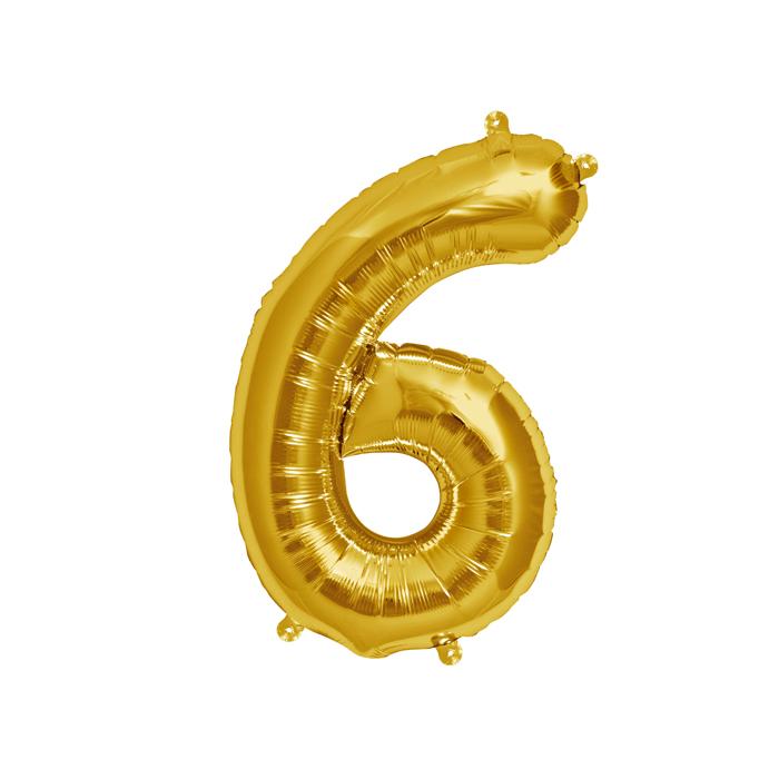 Zahlenballon Gold S - 6