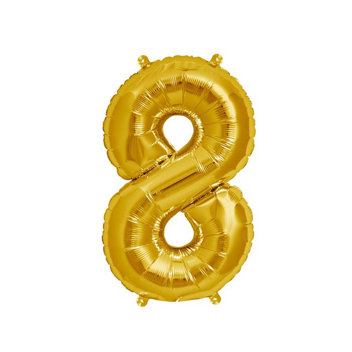 Zahlenballon Gold S - 8