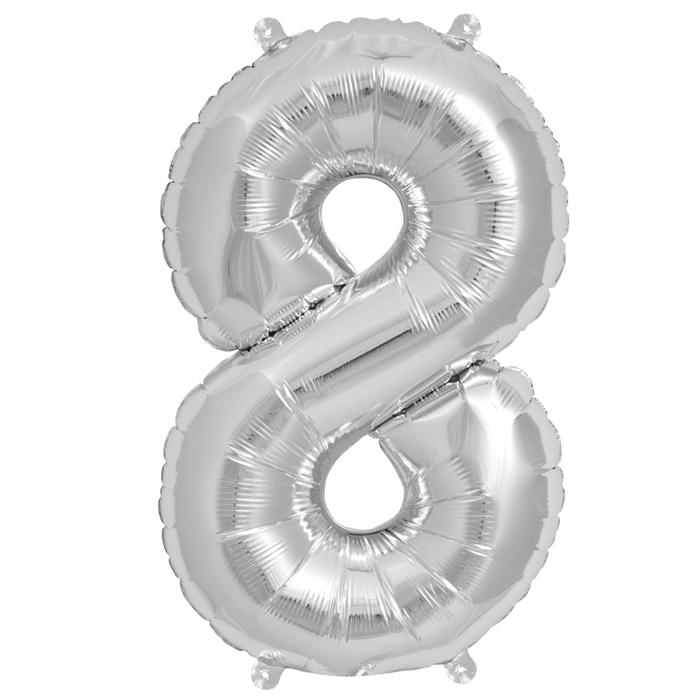 Zahlenballon Silber XL - 8