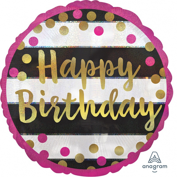 Folienballon Pink and Gold Milestone Happy Birthday