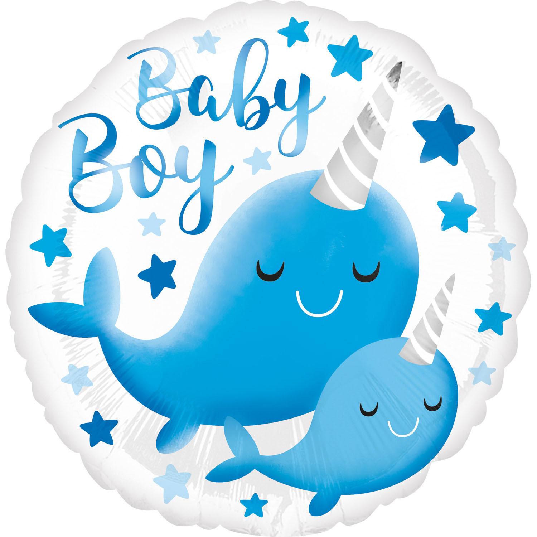 Folienballon Narwhal Baby Boy