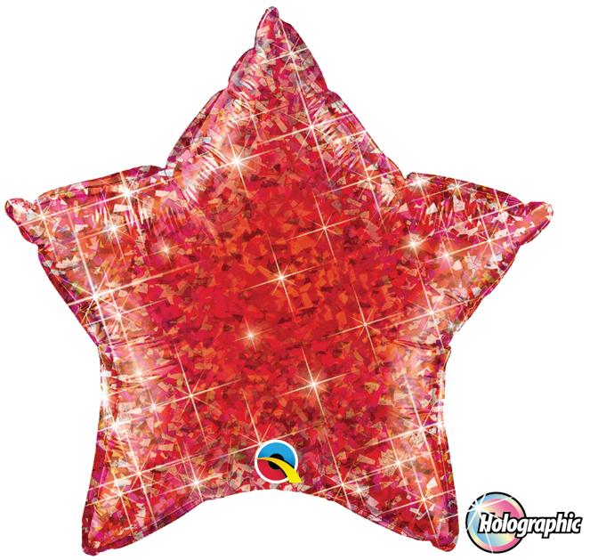 Folienballon Jewel Rot Holographie Stern