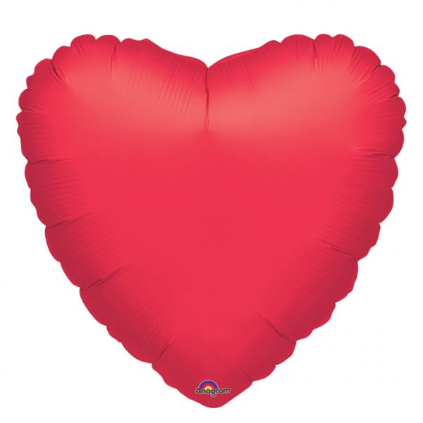 Folienballon Jumbo Herz einfarbig rot 32inch
