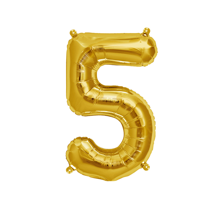 Zahlenballon Gold S - 5