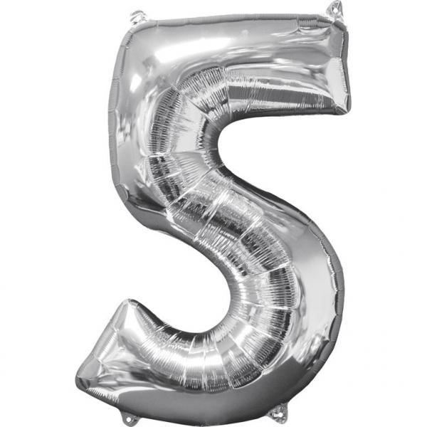 Zahlenballon Silber L - 5