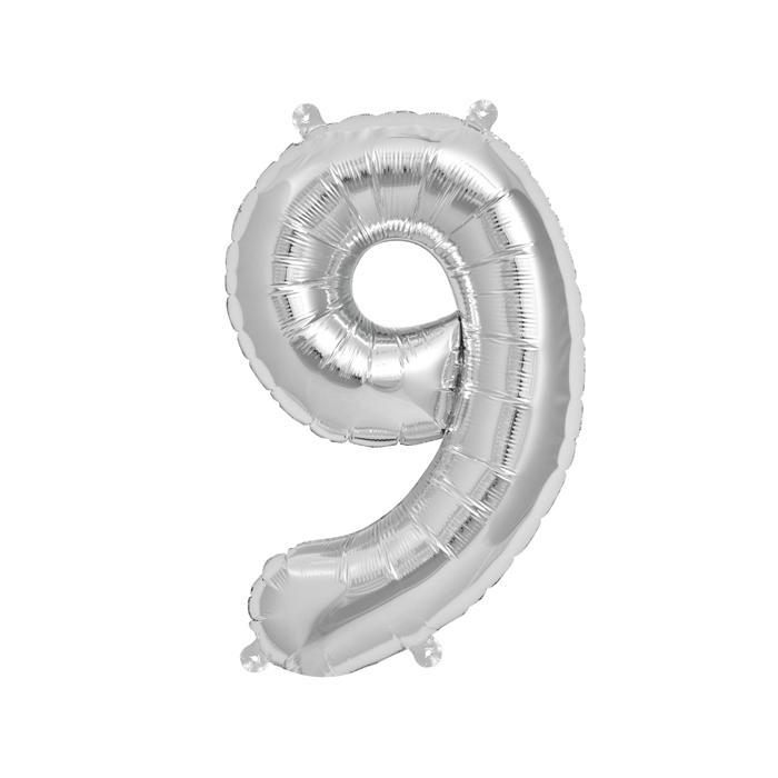 Zahlenballon Silber S - 9