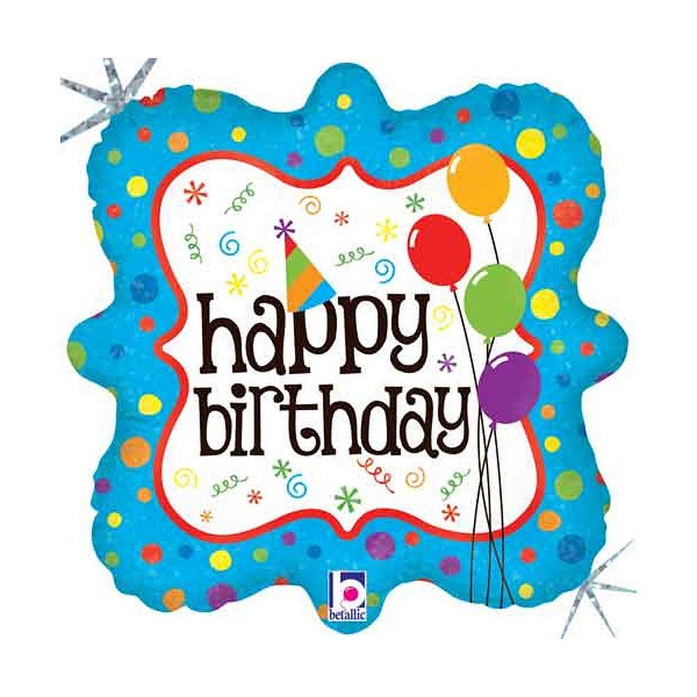 Folienballon Party Deco Happy Birthday holografisch