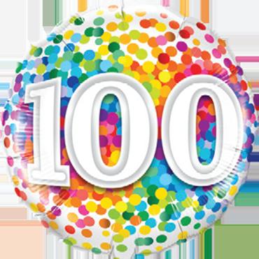 Folienballon Rainbow Confetti 100