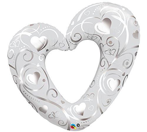 Folienballon Hearts and Filigree Pearlwhite - 59156