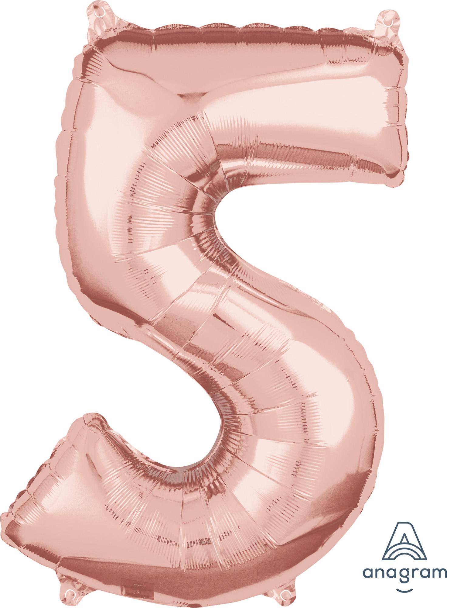 Zahlenballon Rose Gold  L - 5