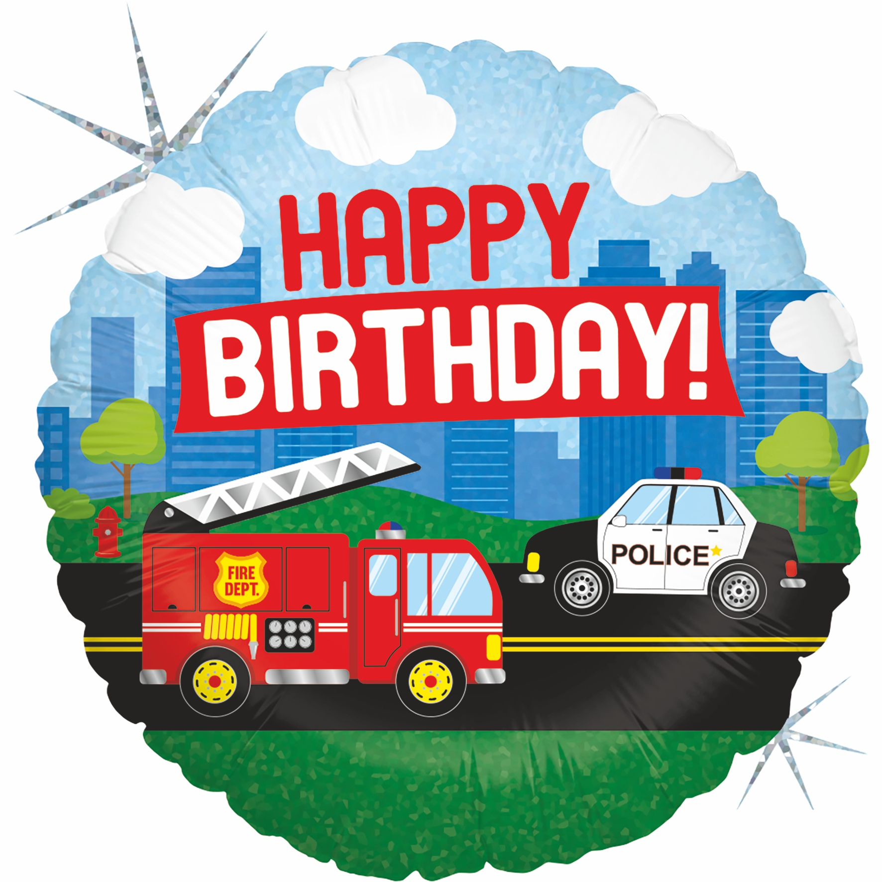 Folienballon Feuerwehr Happy Birthday