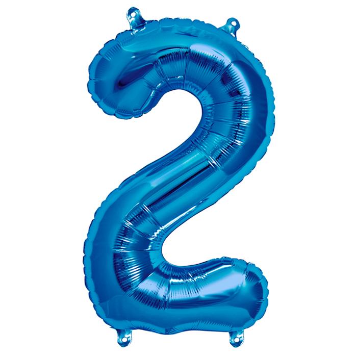 Zahlenballon Blau  S - 2
