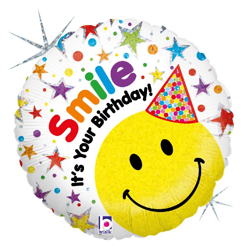 Folienballon Birthday Smiley Hut - 53888