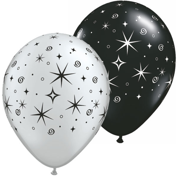 Latexballon Sparkles and Swirls Silver and Black Assortment - 1 Stück