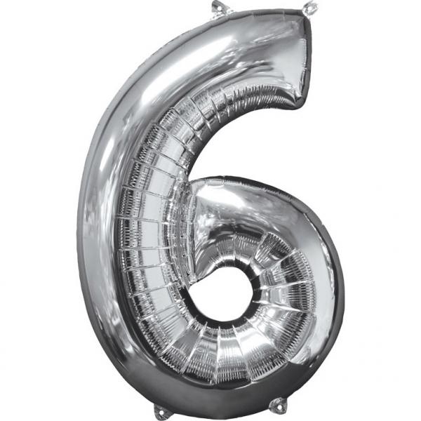 Zahlenballon Silber L - 6