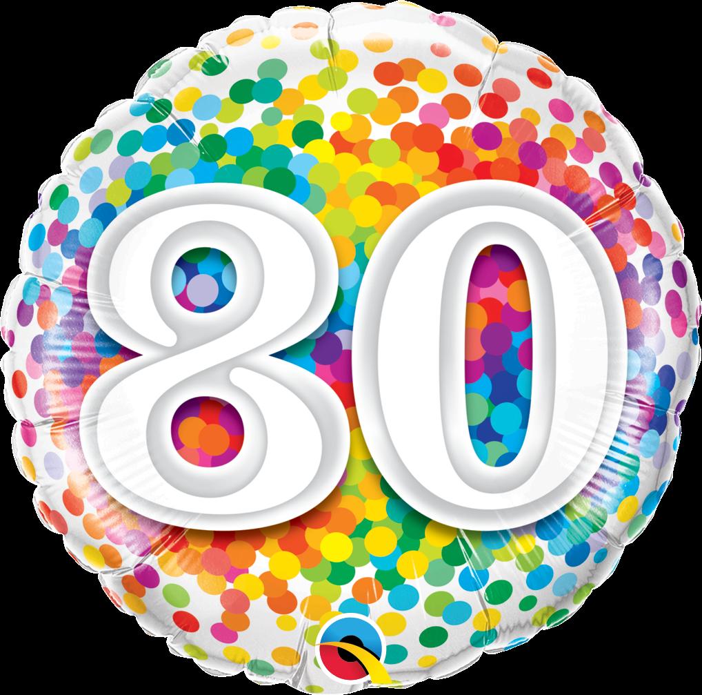 Folienballon Rainbow Confetti 80