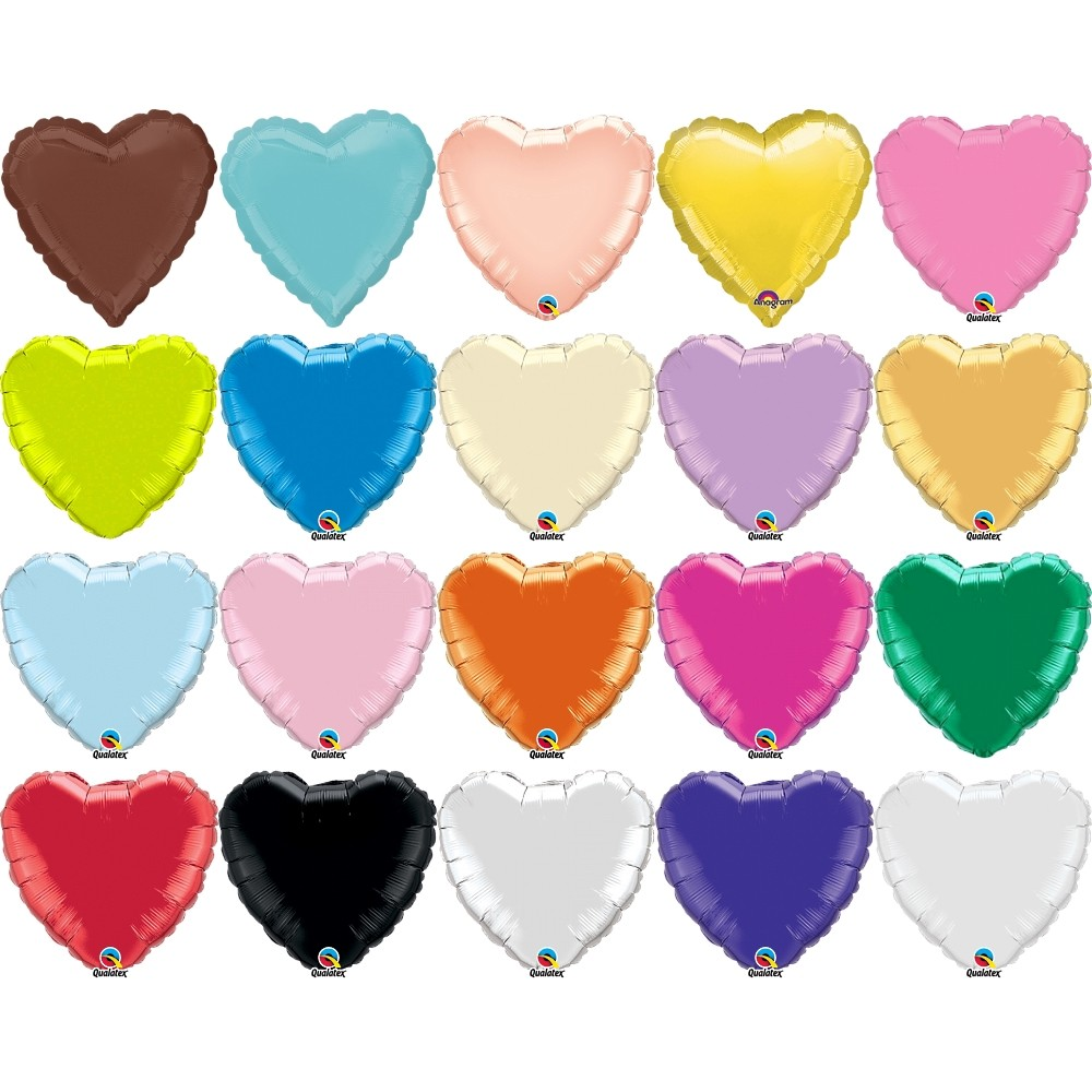 Folienballon Herz einfarbig 18inch - verschieden sortiert