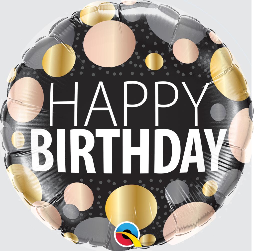 Folienballon Birthday Big Metallic Dots
