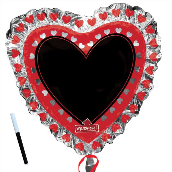 Folienballon SuperShape Herz mit Tafel