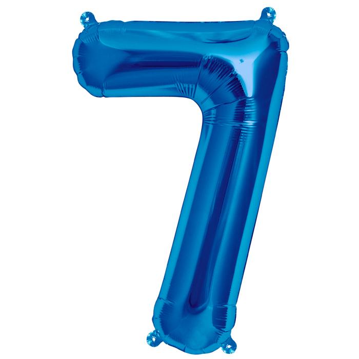 Zahlenballon Blau S - 7