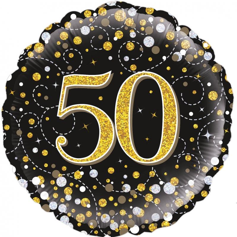 Folienballon Sparkling Fizz schwarz gold 50