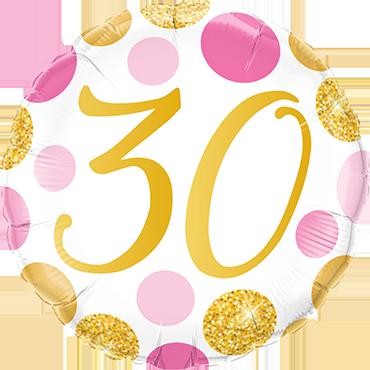 Folienballon Pink und Gold Dots 30
