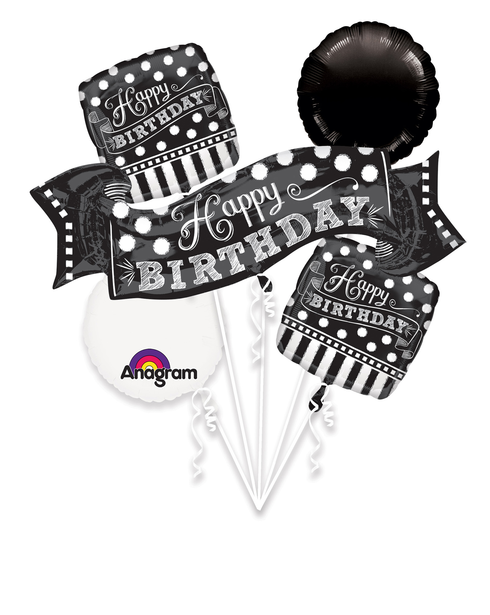 Folien-Bouquet Black and White Chalkboard Birthday