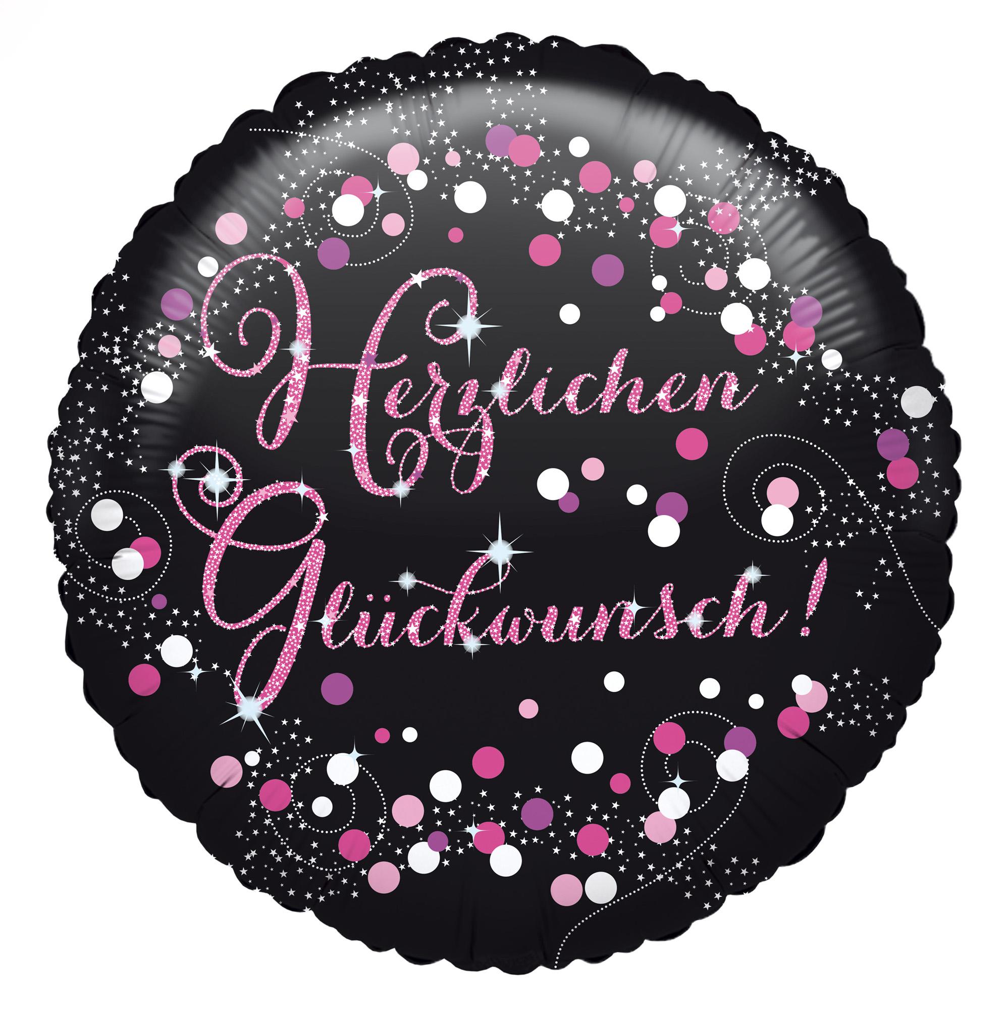 Folienballon Standard Herzlichen Glückwunsch Pink Sparkle