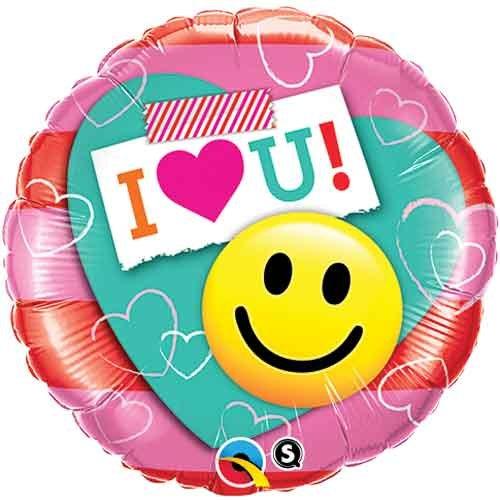 I heart you - Smile Face Folienballon 18in/46cm