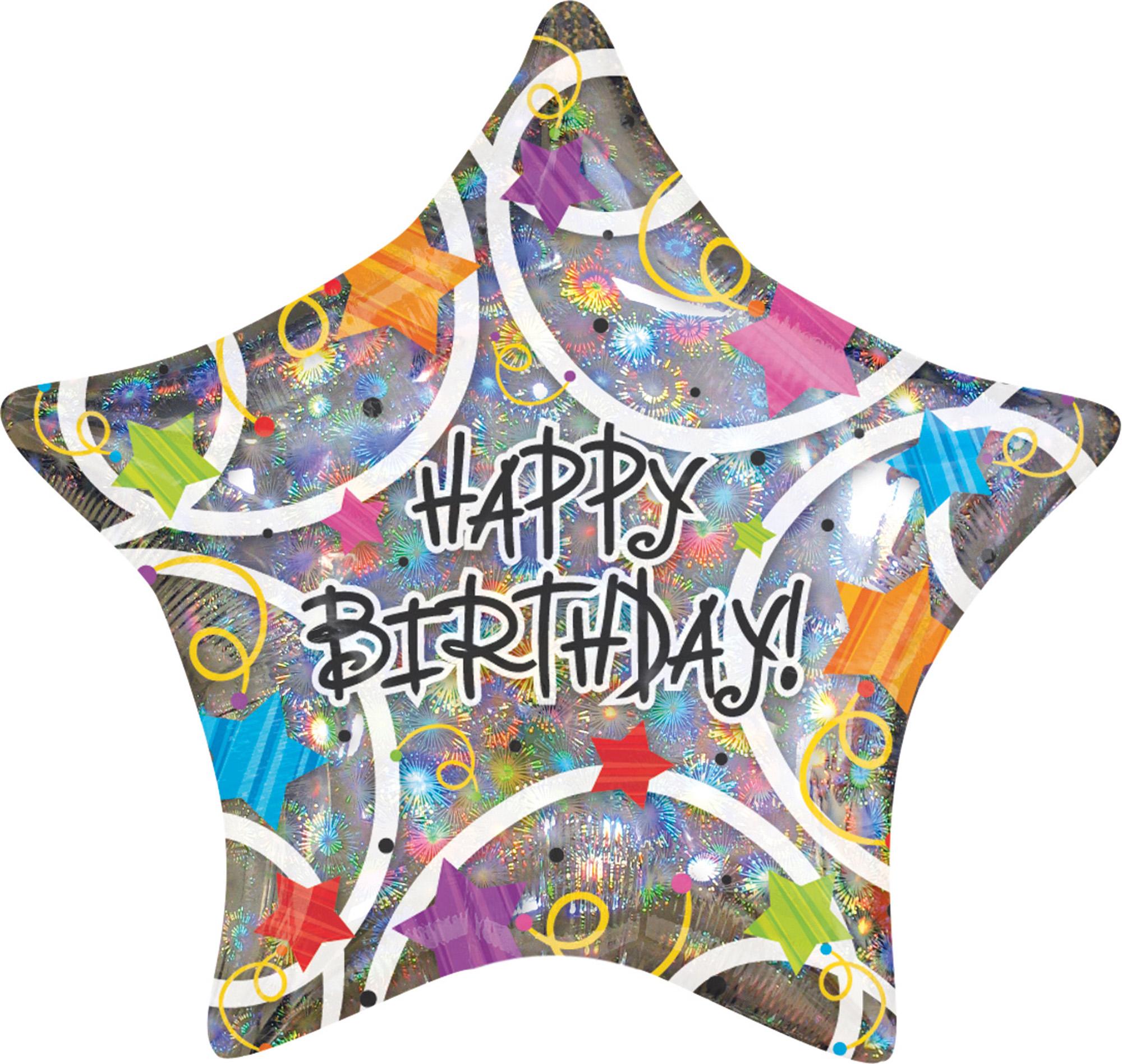 Folienballon Standard Happy Birthday Stars