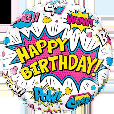 Folienballon Standard Birthday Super Hero White