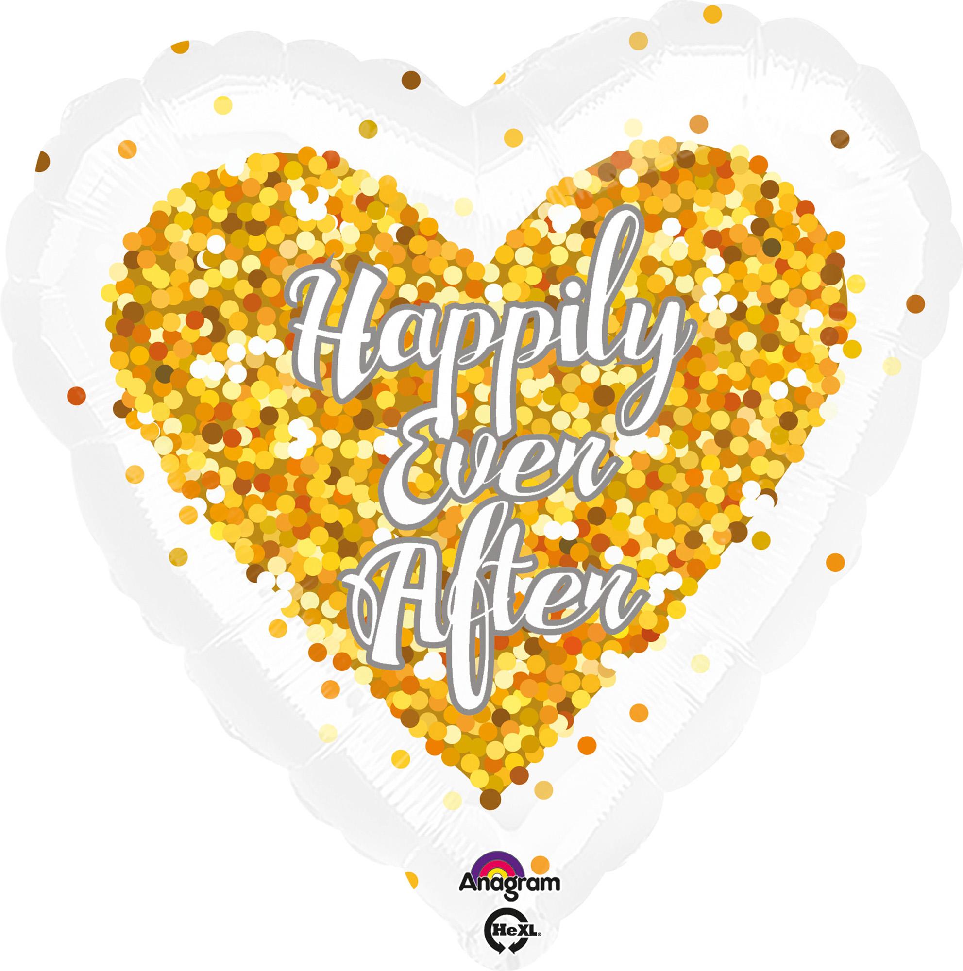 Folienballon Standard Happily ever after- Konfetti