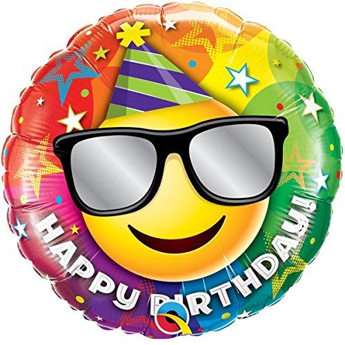 Folienballon Happy Birthday Smiley Sunglasses - 18inch - 1 Stück