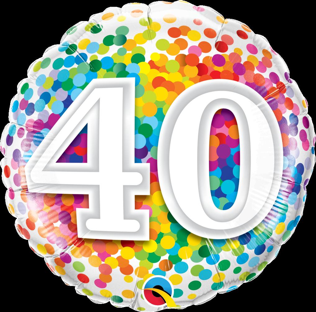 Folienballon Rainbow Confetti 40