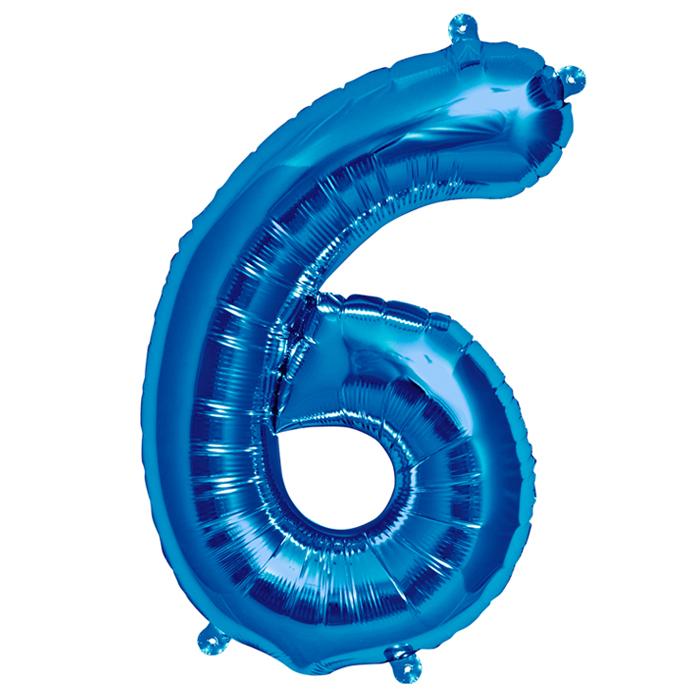 Zahlenballon Blau S - 6